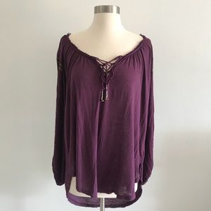 Free People Embroidered Sleeves Blouse Shirt Top